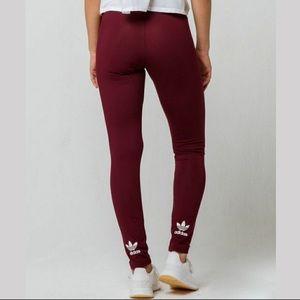 Adidas Burgundy Leggings XS